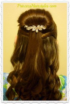Cute Belle hairstyle tutorial. Half up bun hairstyle from Beauty and the Beast.