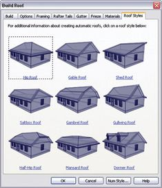 Chief Architects easy Roof Styles dialog