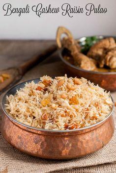Kishmish Kaju Pulao is a staple Bengali Pulao rice dish. Serve this special cashew raisin rice during Durga Pujo, or any time you like! Indian Food Recipes, Asian Recipes, Vegetarian Recipes, Cooking Recipes, Rice Recipes, Curry Recipes, Recipies, Indian Foods, Top Recipes
