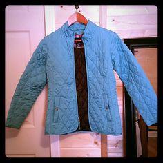 Lands End Quilted Jacket NWOT,  Robin egg blue quilted jacket with inside flannel detailing. Lands' End Jackets & Coats