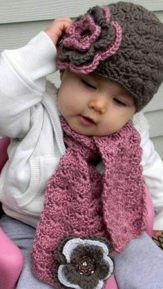 Crochet - Buy beanie and scarf Crochet Baby Hats, Crochet Beanie, Knit Or Crochet, Crochet Scarves, Crochet For Kids, Crochet Crafts, Crochet Clothes, Crochet Projects, Knitted Hats