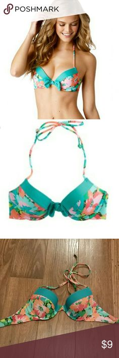 Aerie Bridget Floral Pushup Bikini Top Size 34C Aerie pushup bikini top. Color is Bunker Olive. **Missing the bow tied around the front!!**  but otherwise in great condition. Only worn a couple times. Clasp back, tie around the neck. aerie Swim Bikinis