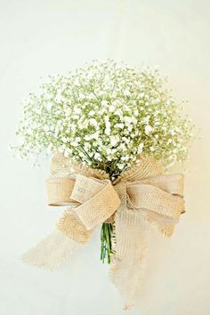 baby's breath bouquet with burlap