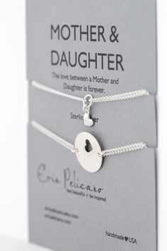 * * * A set of 2 bracelets for the love between MOTHERS & DAUGHTERS * * *    - - - {{ ITEM DETAILS }} - - -    One Mother 18mm pendant, with heart