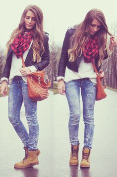 White tee, jeans, boots, leather jacket and a plaid scarf