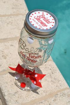 mason jar champagne flutes | Personalized Bridal Shower Mason Jar Wine Glasses @ ... | My Style