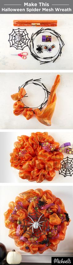 Craft a spooky spider wreath with orange metallic mesh and colorful ribbon. Use chenille stems to tie the mesh to your wreath form and then weave ribbon throughout. Don't forget to add some furry spiders for a haunting touch! Find all the supplies for this wreath at your local Michaels store.