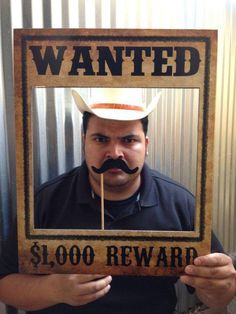 Wanted Poster - Western, Cowboy, Rodeo Birthday Party Theme - Photo Booth - Prop - Decoration - Down Rodeo Party, Rodeo Birthday Parties, Cowboy Theme Party, Birthday Party Themes, Diy Birthday, Cowboy Party Decorations, Birthday Games, Cowboy Party Games, Western Party Games