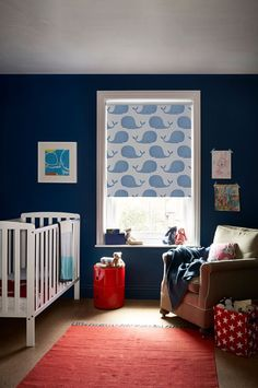 A pod of blue whales swim serenely across our Whalesby Ocean Blue blind. Designed with children in mind, this playful design is made from a specialist blackout fabric that helps stops unwanted light from getting in, promoting a good night's rest. Nursery Blinds, Bedroom Blinds, Home Bedroom, Kids Bedroom, Bedroom Ideas, Bedrooms, Childrens Blinds, Blue Roller Blinds, Blackout Blinds