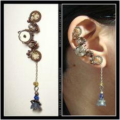 Steampunk Dangly Charm ear cuff    #steampunk #jewelry #etsy