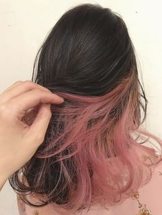 French girly inner color that makes arrangement fun: Hair Color Streaks, Hair Dye Colors, Hair Highlights, Hidden Hair Color, Cool Hair Color, Hair Colour, Hair Inspo, Hair Inspiration, Hair Color Underneath