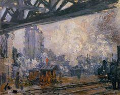 """""""Saint-Lazare Station, Exterior View"""" by Claude Monet, 1887 ・  Style: Impressionism ・  Series: Saint-Lazare Station ・ Genre: cityscape"""
