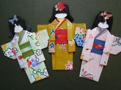 3 x Japanese Paper Origami Doll