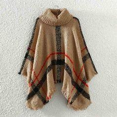 Female Knit Cloak Poncho 2017 Winter Plaid Irregular Tassel Turtleneck Knitted Oversized Shawl For Women Sweater Pullover