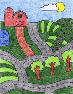 Draw a Farm | Art Projects for Kids. Children really get into drawing anything that looks like a map. PDF tutorial available.