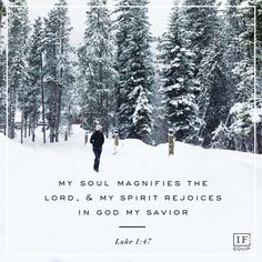 My soul magnifies the Lord, and my spirit rejoices in God my savior.