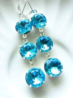 Dangle Estate Style Aquamarine Blue Silver by RachellesJewelryBox