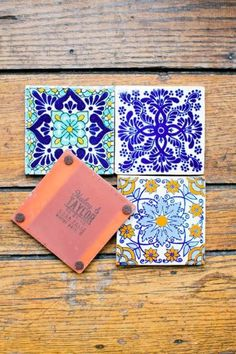 Love these #wedding #favors- Spanish tile coasters! Photo by http://amalieorrangephotography.com, via http://theeverylastdetail.com/classic-ivory-florida-wedding-southwestern