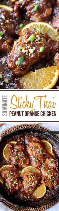 One pan, 30 minute easy Sticky Thai Peanut Orange Chicken baked in one of my favorite rich, nutty, sweet, savory orange sauces ever. I am so in love with the flavors and ease of this dish! Dishes For Lunch) Thai Recipes, Turkey Recipes, Asian Recipes, Chicken Recipes, Dinner Recipes, Cooking Recipes, Noodle Recipes, Carlsbad Cravings, Orange Chicken