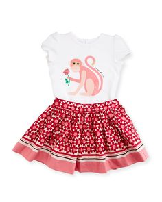 cap-sleeve monkey tee w/ floral skirt, cream, size 12-24 months