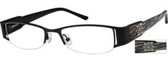 Women's Black 7553 Stainless Steel Half-Rim Frame with Acetate Temples and spring hinges | Zenni Optical Glasses-Nke5VSXF