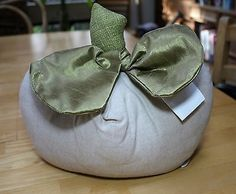Woof  Poof Ivory White Pumpkin Pillow 2012~ NWT