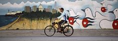 A man rides a bicycle fitted with a petrol engine beside a mural of doves painted with Cuban flags and an image of the city in Havana.