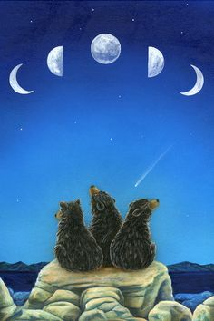 passing time - bears, moon - Cathy McClellend