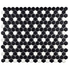 "SomerTile FXLMMHBD Retro Mini Hex Porcelain Mosaic Floor and Wall Tile, 11.5"" x 13.25"", Matte Black with White Dot"