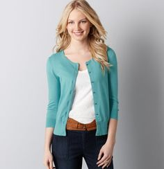 teal cardigan and the belt