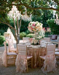 Outside elegant vintage wedding, chandelier in trees