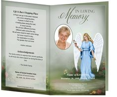 Angel With A Rose Funeral Memorial Example of Order of Service program design layout templates - place obituary and poems within its contents.