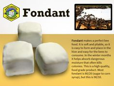 Fondant is the perfect feed your bees can cluster around! Even with colder temperatures, you will want to plan accordingly for when it gets warm enough to visit your hive and provide if needed. This is a high quality, food grade product. Most fondant is 80/20 (sugar to corn syrup), but this is 90/10.