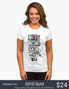 Technicolor is a TV lovers dream. The TV test screen pops right out of this technically retro tee. Old schol TVs, stereos and speakers all combine to reflect on nostalgic technology. This cool vintage tee is definitely one for the tech heads, enjoy the past as we look to the future. Get the this crisp white tee today!
