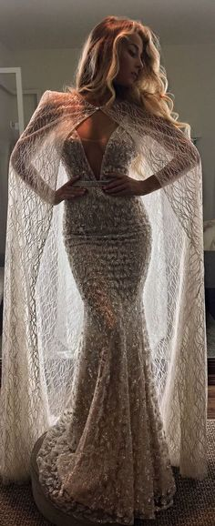 Wedding Dress and bridal cape by Berta Bridal | @bertabridal