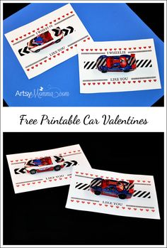 Looking for a creative Valentine's Day card idea to make with the kids? Here is a free printable I Wheelie Like You Car Valentine! Attach a toy car to the card using patterned washi tape. Valentines Day Activities, Valentines For Kids, Johnny Valentine, Valentine Ideas, Free Printable Cards, Free Printables, Free Valentine Cards, Happy Hearts Day, Valentine's Cards For Kids