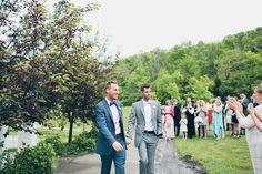 Mulhauser Barn, Cincinnati, OH, gay wedding ceremony by same-sex wedding photographer Cassandra Zetta.