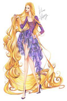 Princesas Fashion por Guillermo Meraz - Rapunzel.