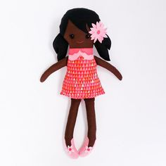 FREE SHIPPING 24 Handmade rag doll african with by littleblackant