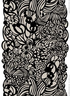Marimekko Raakel Beige / Black Fabric Neutral botanicals by designer Paavo Halonen give off a simple sophistication. Printed in Finland on heavyweight cotton, this fabric is ready to whirl as a dress, tablecloth, cushion or curtain. Helsinki, Marimekko Fabric, Scandinavia Design, Monochrome Pattern, Texture Art, Black Fabric, Abstract Pattern, Textile Design, Fashion Prints