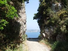 donkey trail through mountains at makrades and aghios giorgios, corfu Hillside Village, Corfu Town, Corfu Island, Cypress Trees, Going On Holiday, Greek Islands, Donkey, Geology, Light Colors