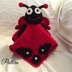 Ladybug Lovey Security Blanket Crochet Pattern , lovey blanket , huggy buddy , tutorial , instant download pdf $4.82