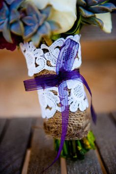 Bridal bouquet with lace from mother's wedding veil....Something borrowed. Photography by cmi-photography.com/