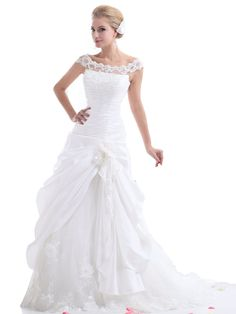 Landybridal Women's Scoop Chapel Train Drop Waist Taffeta Wedding Dress This is beautiful. I would remove the lace on top though. Bridal Party Dresses, Modest Wedding Dresses, Bridal Gowns, Bridesmaid Dresses, Prom Dresses, Sexy Dresses, Chic Wedding, Wedding Styles, Gown Wedding