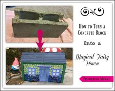 How to Create a Fairy House From a Concrete Block (fairy houses kids daughters) Outdoor Projects, Craft Projects, Craft Ideas, Fairy Houses Kids, Diy And Crafts, Crafts For Kids, Create A Fairy, Concrete Blocks, Cement
