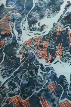 A collection of fabrics exploring colour texture and pattern inspired by aerial 2019 A collection of fabrics exploring colour texture and pattern inspired by aerial views. Techniques used are devore disperse dying screen printing and hand embellishment Textile Patterns, Textile Prints, Textile Design, Textile Art, Fabric Design, A Level Textiles, Textiles Techniques, Fabric Textures, Fabric Manipulation