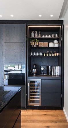 Kitchen Room Design, Modern Kitchen Design, Home Decor Kitchen, Interior Design Kitchen, Home Kitchens, Home Bar Cabinet, Modern Home Bar, Home Bar Designs, Pantry Design