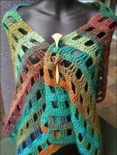 Nice crochet shawl - using varigated yarn.