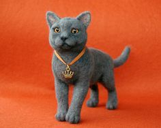 Needle felted british cat by SkojSkoj