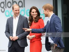 Prince William, Duke of Cambridge, Catherine, Duchess of Cambridge and Prince Harry depart after attending the official opening of The Global Academy in support of Heads Together at The Global Academy on April 20, 2017 in Hayes, England. The Global Academy is a state school founded and operated by Global, The Media